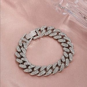 Women's Icy Bling Chunky Chain Link Ice chain Silver bracelet with buckle clasp